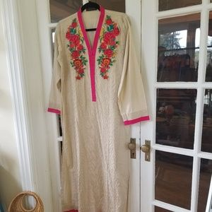 Embroidered Indian Style Maxi Dress / Saree